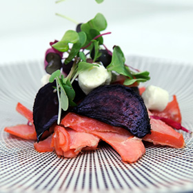 Wood Smoked Salmon Salad with Roast Beetroot