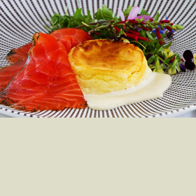 Ocean Trout Gravlax with Cheese Soufflé